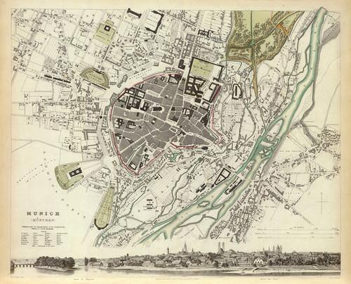 Art Prints of Munich, 1832 (0890190), Great Britain Map