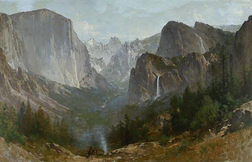 Art Prints of Indians at Campfire, Yosemite Valley, 1885 by Thomas Hill