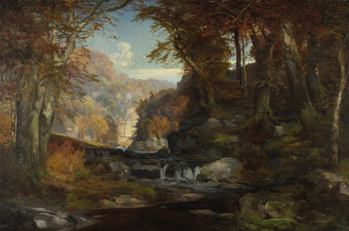 Art Prints of A Scene on the Tohickon Creek, Autumn by Thomas Moran