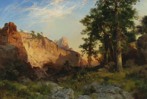 Art Prints of Coconino Pines and Cliffs, Arizona by Thomas Moran