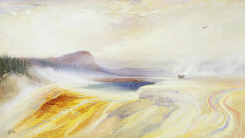 Art Prints of Great Blue Spring of the Geyser Basin, Yellowstone by Thomas Moran