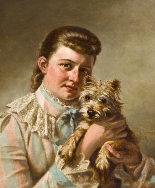 Art Prints of Girl with Dog by Thomas Waterman Wood