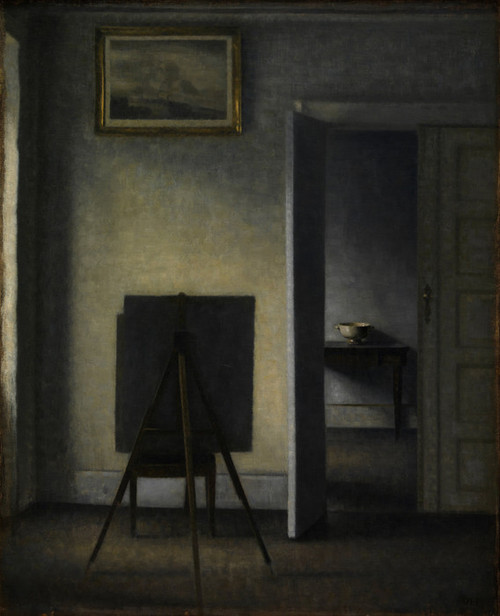 Art Prints of Interior with the Artist's Easel by Vilhelm Hammershoi
