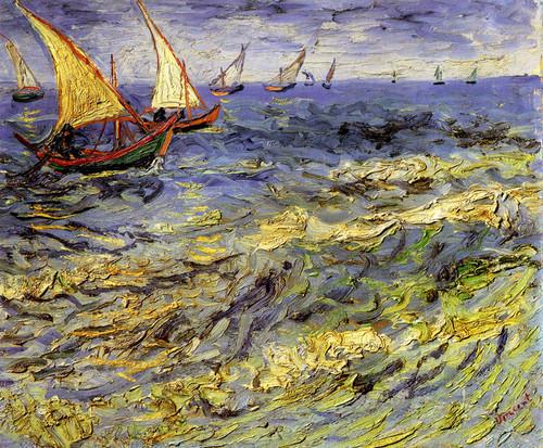 Art Prints of Seascape at Saintes Maries, 1888 by Vincent Van Gogh
