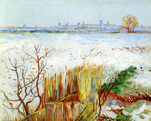 Art Prints of Snowy Landscape with Arles in the Background by Vincent Van Gogh