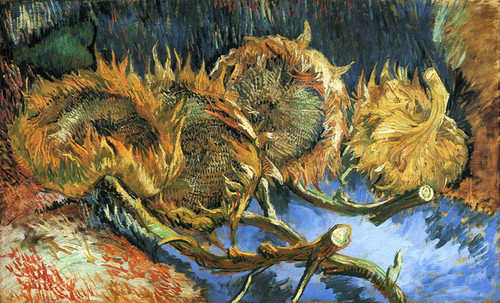 Art Prints of Four Cut Sunflowers, One Upside Down by Vincent van Gogh