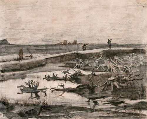 Art Prints of Landscape with Bog Trunks, Travaux aux Champs by Vincent Van Gogh