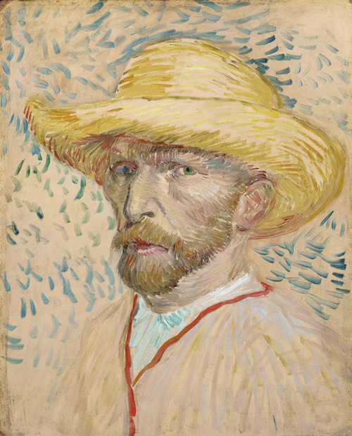 Art Prints of Self Portrait in a Straw Hat II by Vincent Van Gogh