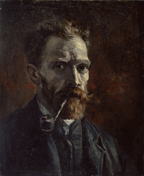Art Prints of Self Portrait with Pipe I by Vincent Van Gogh