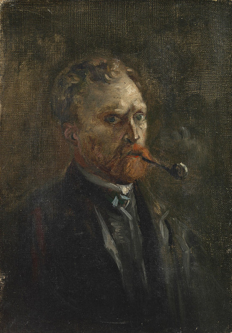 Art Prints of Self Portrait with Pipe II, 1886 by Vincent Van Gogh