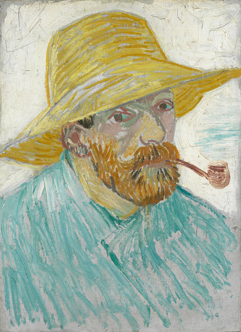 Art Prints of Self Portrait with Pipe and Straw Hat I by Vincent Van Gogh