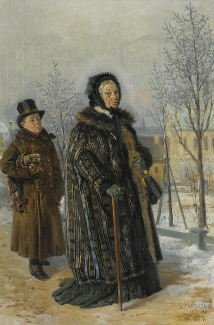 Art Prints of A Winters Walk by Vladimir Egorovich Makovsky