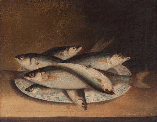 Art Prints of Fish on a Blue and White Plate by W. B. Gould