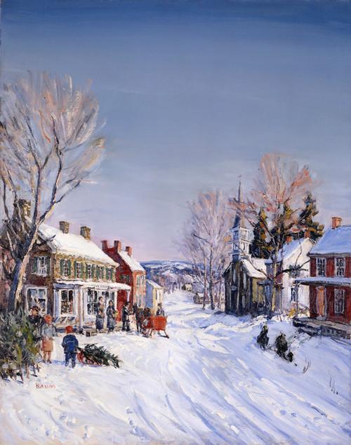 Art Prints of Pennsylvania Village in Winter, Carversville, 1931 by Walter Baum