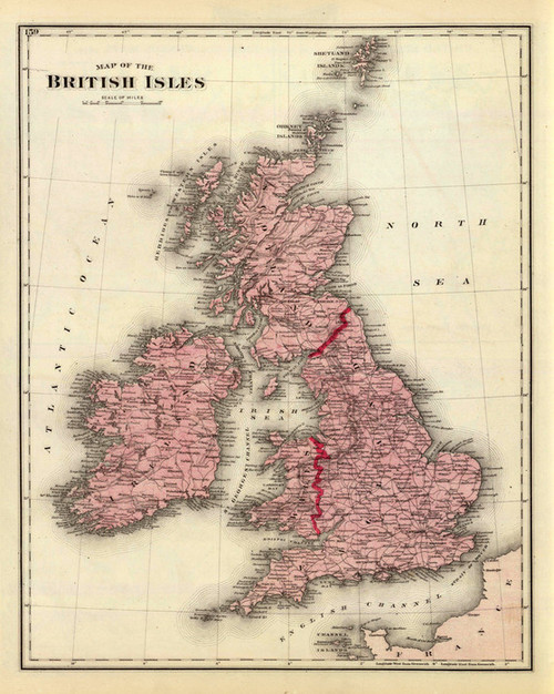 Art Prints of British Isles Map (1159149) by Warner, Beers and Union Atlas Co.