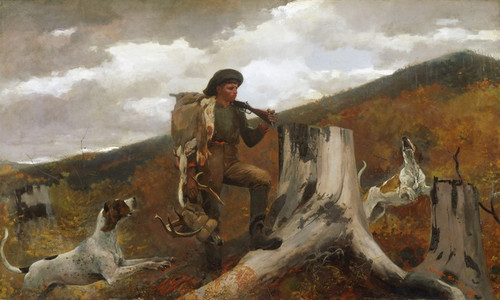 Art Prints of A Huntsman and His Dogs by Winslow Homer