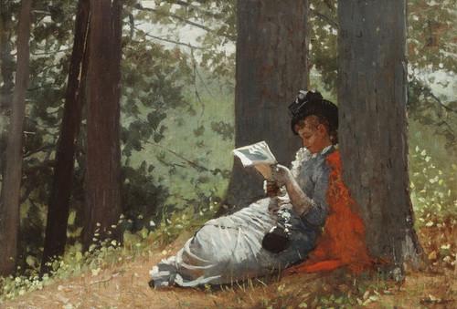 Art Prints of Girl Reading Under an Oak Tree by Winslow Homer