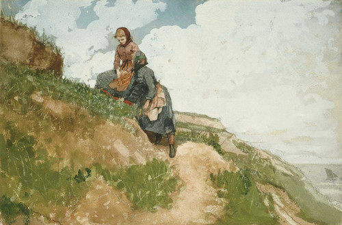 Art Prints of Girls on a Cliff by Winslow Homer