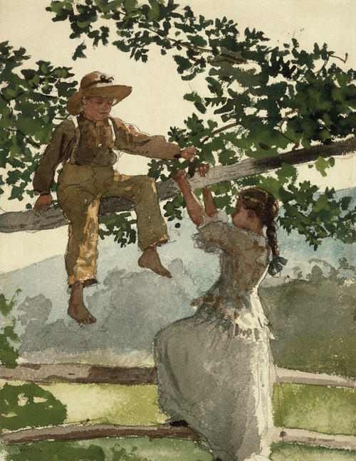Art Prints of On the Fence by Winslow Homer