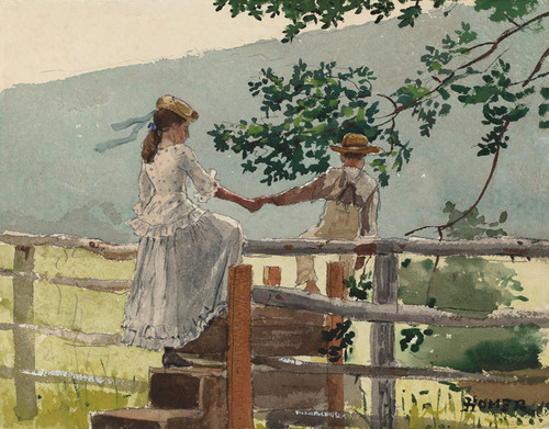 Art Prints of On the Stile by Winslow Homer