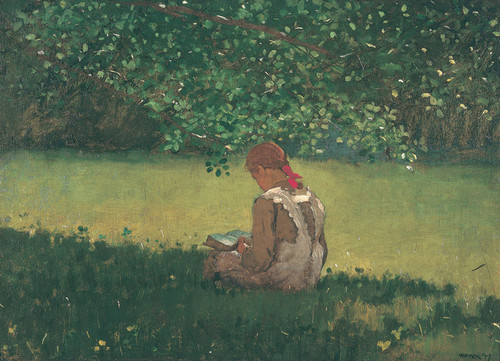 Art Prints of Reading by the Brook by Winslow Homer
