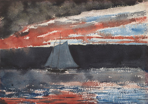 Art Prints of Schooner at Sunset by Winslow Homer