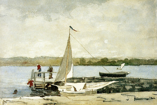Art Prints of Sloop at Wharf Gloucester by Winslow Homer