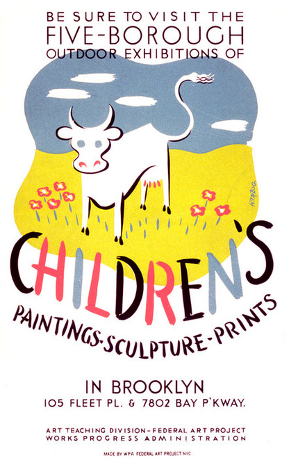 Art Prints of Outdoor Exhibitions of Children's Art in Brooklyn (399144), WPA Poster