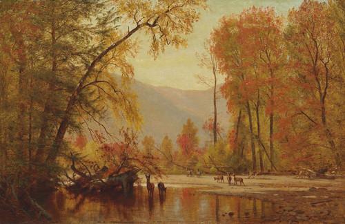 Art Prints of Autumn on the Delaware by Worthington Whittredge
