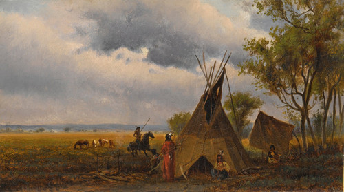 Art Prints of Landscape with Teepee and Indians by Worthington Whittredge
