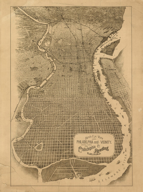 Art Prints of Bird's Eye View of Philadelphia and Vicinity by Unknown Artist