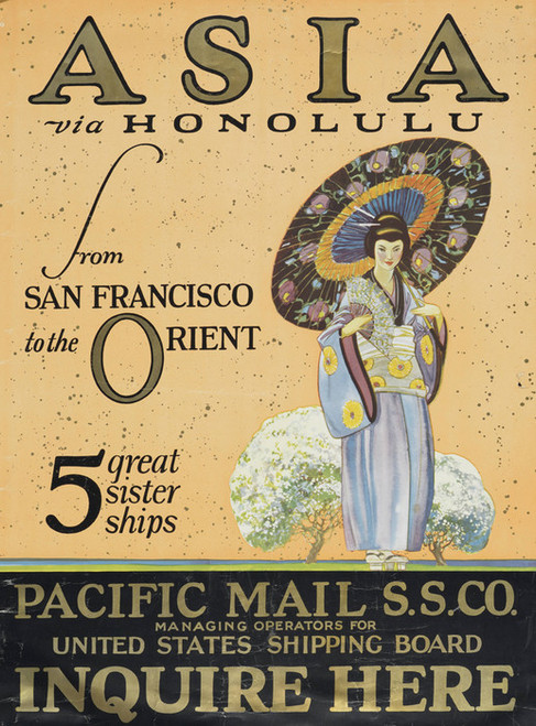 Art Prints of Asia Via Honolulu from San Francisco to the Orient, Travel Posters