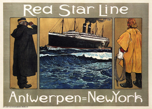 Art Prints of Red Star Line, Antwerpen to New York, Travel Posters