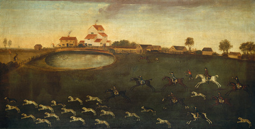 Art Prints of Hunting Scene with Pond by 18th Century American Artist