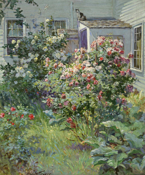 Art Prints of Backyard with Cat by Abbott Fuller Graves