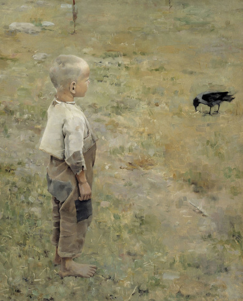 Art Prints of Boy with a Crow Print by Akseli Gallen-Kallela