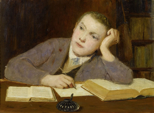 Art Prints of Boy Writing by Albert Anker