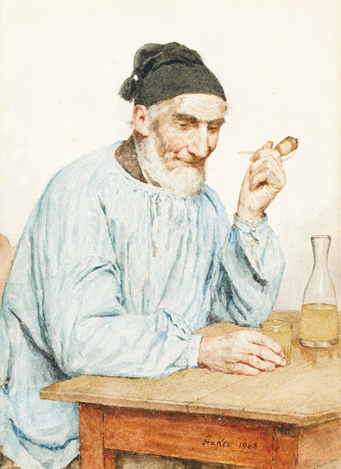 Art Prints of Farmer at the Table, 1908 by Albert Anker