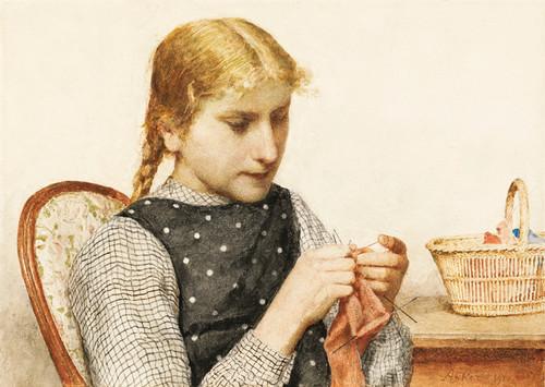 Art Prints of Knitting Girl by Albert Anker