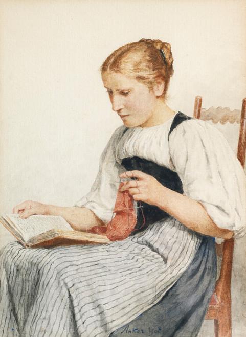 Art Prints of Knitting Girl Reading, 1907 by Albert Anker