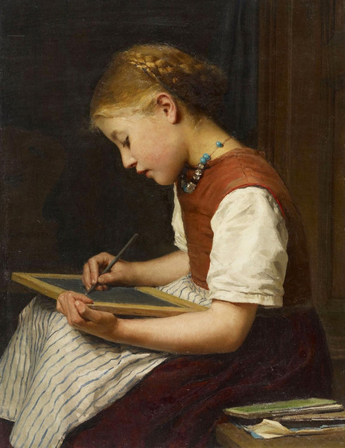 Art Prints of Schoolgirl with Homework by Albert Anker