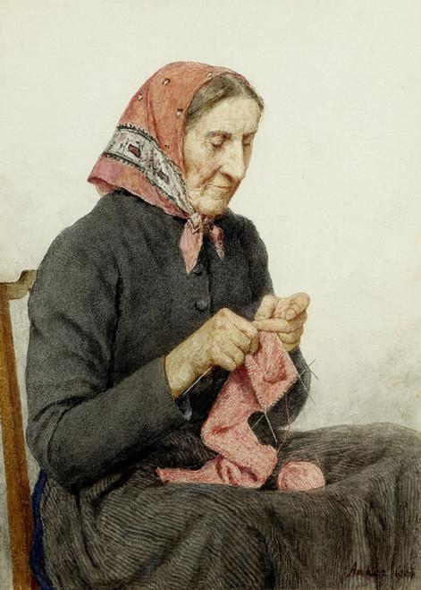 Art Prints of Seated Farmer Knitting, 1904 by Albert Anker