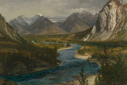 Art Prints of Bow River Falls, Canadian Rockies by Albert Bierstadt