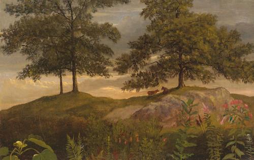 Art Prints of Landscape with Cows by Albert Bierstadt