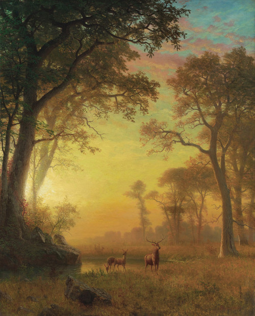 Art Prints of Light in the Forest by Albert Bierstadt