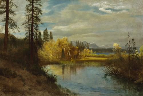 Art Prints of Outlet at Lake Tahoe by Albert Bierstadt