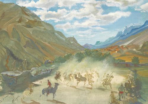 Art Prints of Polo Game at Misgar II by Alexander Evgenievich Yakovlev