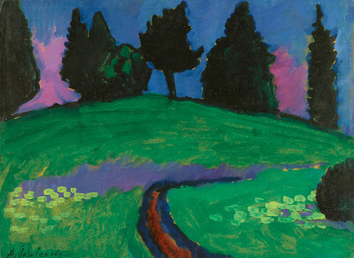 Art Prints of Dark Trees Over Green Slope by Alexej Von Jawlensky