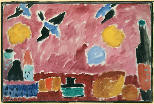Art Prints of Red Swallow Patterned Wallpaper, 1915 by Alexej Von Jawlensky