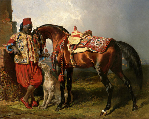 Art Prints of African Groom Holding a Stallion by Alfred de Dreux